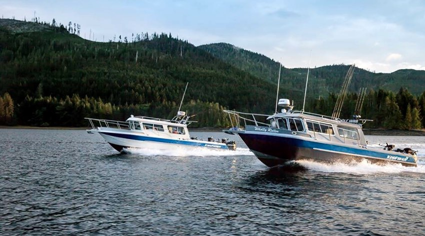 Guide boats at the Haida Gwaii West Lodge