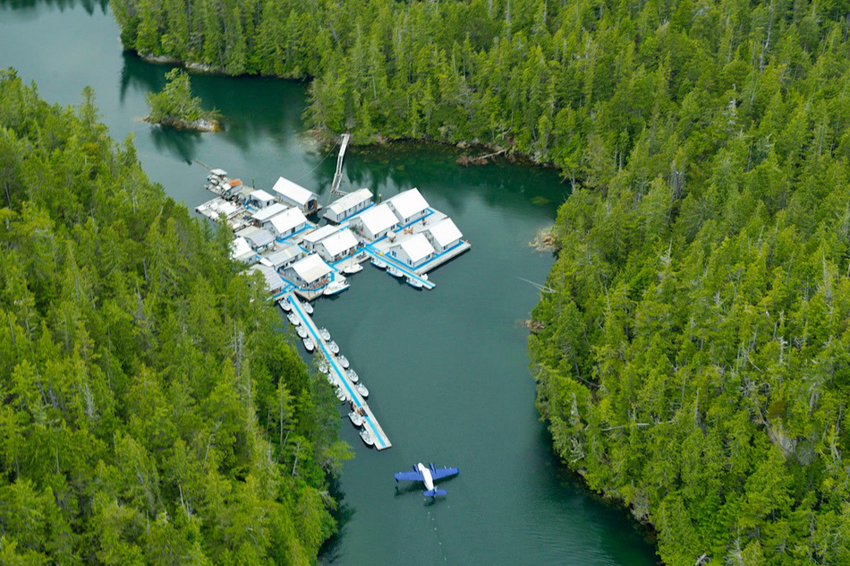 Ariel view of this iconic British Columbia salmon fishing lodge